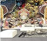 Equipo de Vida Papel Tapiz Decoración 3D Murales Pared Mundo Submarino Peces pequeños Coral Acuario Pintura Decorativa TV Fondo Wall-350Cmx245Cm
