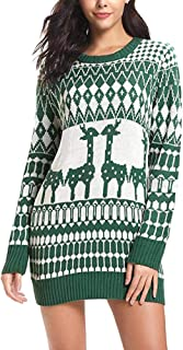 〓COOlCCI〓Ugly Christmas Dresses for Women,Long Sleeve Knit Sweaters Dresses New,T Shirts Tunic Dress Casual Midi Dress