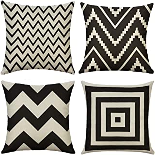 (46cm x 46cm , Black Wave) - Miulee Pack of 4 Decorative Black Wave Outdoor Pillow Cover Geometric Style Durable Cotton Li...