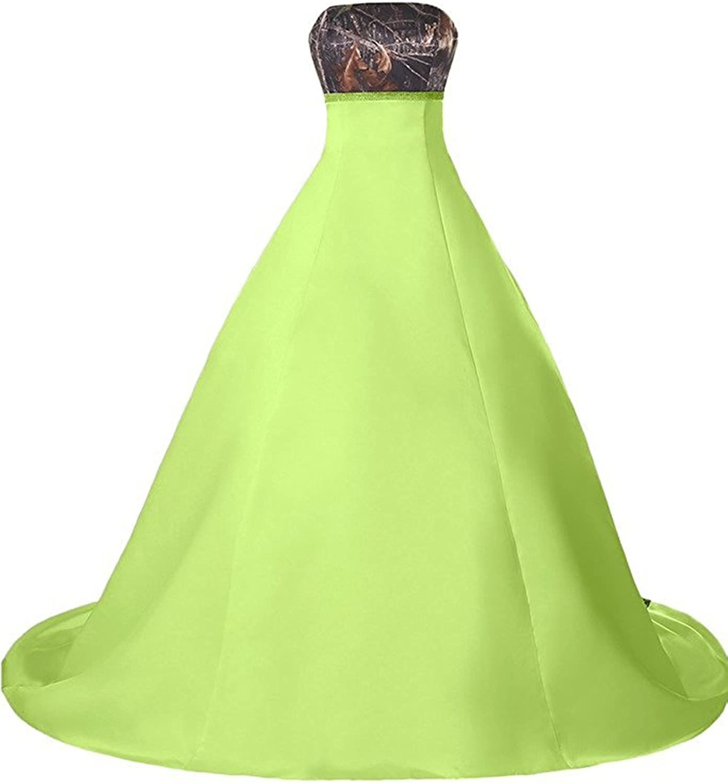 DianSheng Long Glorious Wedding Dress Forest Camo White Bridal Gown AS753