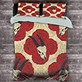 Toopeek Gothic Decor Collection 3-Pack (1 Duvet Cover and 2 Pillowcases) Goat Skull on Red Roses Horn Pattern Animal Bone Traditional Symbol Art Print Polyester (Twin) Ivory Beige