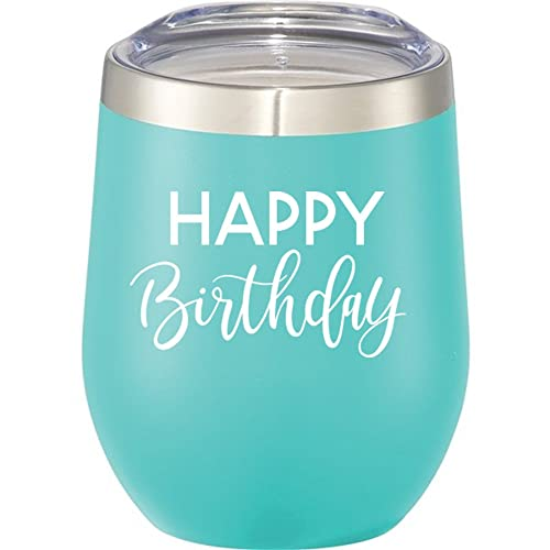 Happy Birthday Wine Tumbler   12 oz Stainless Steel Stemless Wine Glass Tumbler with Lid   Birthday Wine Glass for Her (Mint, White)