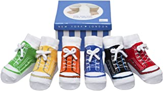 Baby Infant Toddler Boy Shoe Look Socks-Anti slip Soles - Soft Cotton - 6 Pairs - Baby Shower Gift- 3-12 Months