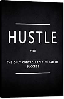 "Hustle Verb Motivational Wall Art Inspirational Entrepreneur Quotes Canvas Painting Modern Inspiring Posters Pictures Prints Framed Artwork Decorations for Living Room Home Office House (12""Wx18""H)"