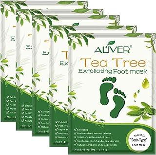 Foot Peel Mask 5 Pack, Tea Tree Foot Mask Peeling Off Calluses Dead Skin Repair Rough Heels, Baby Soft Smooth Touch Feet-Men Women