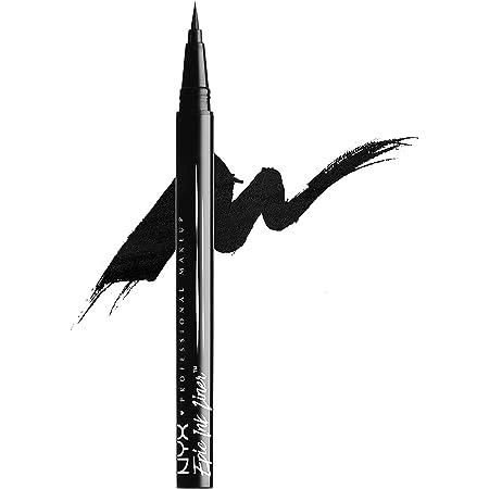 NYX Professional Makeup Delineador de ojos Epic Ink Liner, Punta de pincel, Resistente al agua, Fórmula vegana, Negro