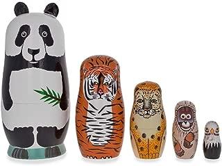 BestPysanky Endangered Animals Panda, Tiger, Leopard, Bold Eagle Wooden Nesting Dolls