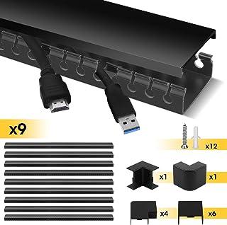 Canal de Cable, Stageek Sistema de gestión de Cable, Canal de Cnalización de Cables de ranura abierta, Cables de cables ordenados para uso en el hogar y la oficina, 9x39cm, Negro