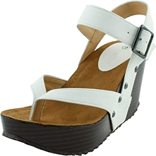 be61042a63fa Cambridge Select Women s Studded Ankle Strappy Buckle Thong Platform Wedge  Sandal