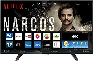 "Smart TV LED 32"" HD com WiFi 2 USB 3 HDMI TV Digital Controle com Botão Netflix, AOC LE32S5970, Preto"