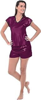 Alexander Del Rossa Womens Satin Pajamas, Short Sleeved V-Neck with Shorts