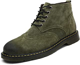 CHENDX Shoes, Men's Fashion Classic Winter Ankle Boot Casual Simple Comfortable Faux Fleece Inside Brogue High Top Big Size Shoes (Conventional Optional) (Color : Green, Size : 7.5 UK)