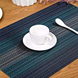 Placemat European Pattern Wave PVC Heat Insulation Table Mat Cloth Mat Cafe Dining Washable Set of 6 (NavyBlue)