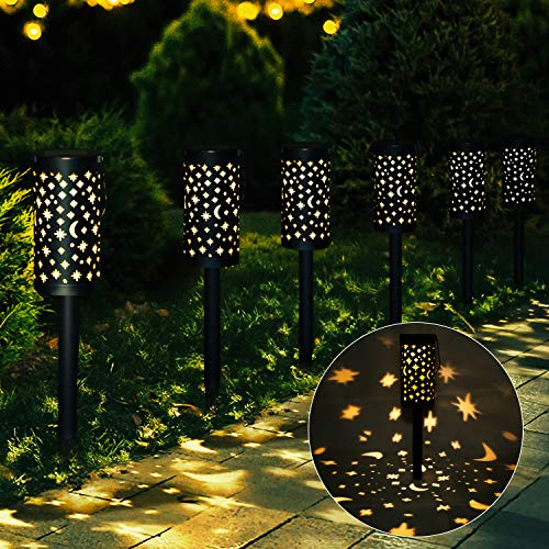 Esgarden 6 Pcs Solar Light Outdoor Garden Moon Star Patio Pathway Landscape Lights Yard Driveway Lawn Walkway Decoration Solar Lantern Waterproof Outside Path Hanging Sidewalk Courtyard Black