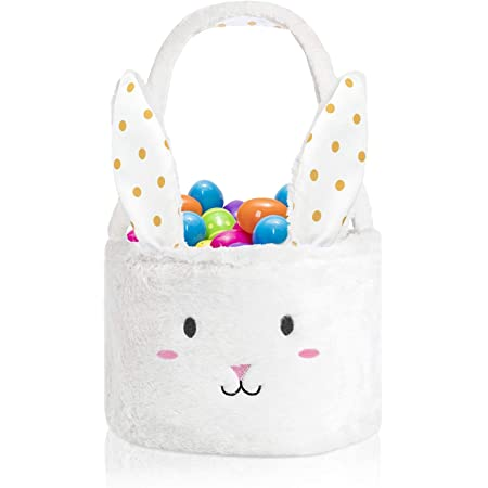 Evoio Easter Eggs Basket, Cute Fluffy Bunny Bucket with Foldable Rabbit Ears, Easter Baskets for Kids, Easter Egg Hunts Tote Perfect for Girls, Boys, Easter Decoration Party Holiday