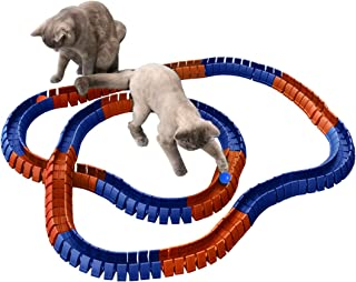 Magic Cat Track and Ball Toy Double Size for cats, kittens, pets, kitties, consisting of 16' flexible tracks and 4 balls, 8ft of orange tracks, 8ft of blue tracks with 2 orange balls and 2 blue balls