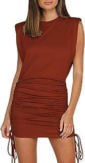 Bienwwow - Mini abito da donna con spalline, stile casual, con increspature