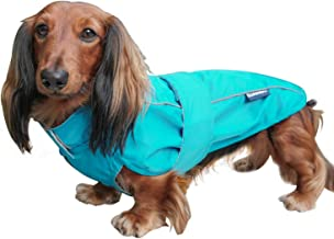 DJANGO City Slicker All-Weather Dog Jacket & Water-Repellent Raincoat with Reflective Piping Large Blue