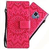 Galaxy S9 Hülle, Handyhülle Samsung Galaxy S9 Tasche Leder Flip Hülle Brieftasche Handy Schutzhülle für Samsung S9 Cover (Rot)