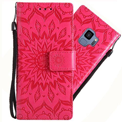 Galaxy S9 Hülle, Handyhülle Samsung Galaxy S9 Tasche Leder Flip Case Brieftasche Handy Schutzhülle für Samsung S9 Cover (Rot)
