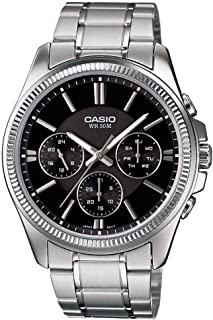Casio Enticer Men's Black Dial Stainless Steel Analog Watch - MTP-1375D-1AVDF