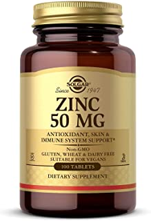 Solgar Zinc 50 mg, 100 Tablets - Zinc for Healthy Skin, Taste & Vision - Immune System & Antioxidant Support - Supports Ce...