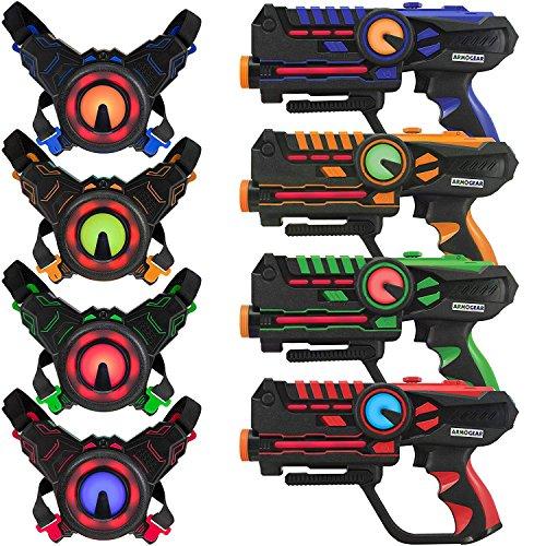 Darpèje Game 4 Joueurs-Infrarouge sans Fil-Compatible Piles Rechargeables-4 Pistolets Laser + 4...