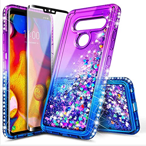 E-Began LG V30 Case, LG V35 ThinQ/V30 Plus/V30+/V30S ThinQ with Screen Protector (Soft Full Coverage), Sparkle Glitter Flowing Liquid Quicksand, Protection Durable Girls Cute Phone Case (Purple/Blue)