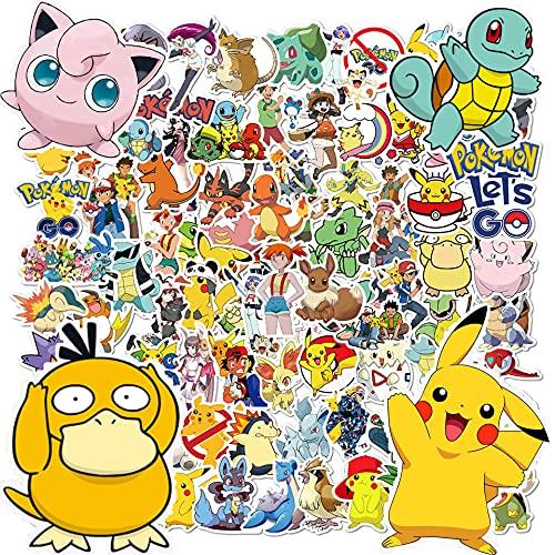 Stickers Pokemon, 100pcs Autocollants Pokemon, Stickers Voiture, Autocollant Enfant, Stickers Moto, Stickers Skate, Autocollants Pack,Autocollant Ordinateur Portable