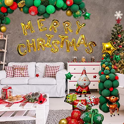 DriSubt 203PCS Kit Decorazione Palloncini Natalizi, Kit Arco di Ghirlande di Palloncini Banner di Natale, Stivali di Natale di Babbo Natale