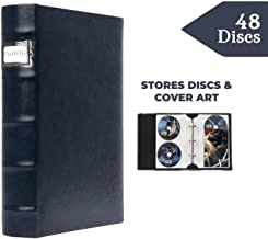 Bellagio-Italia Corona Lago (Blue) DVD Storage Binder Single - Stores Up to 48 DVDs, CDs, or Blu-Rays - Stores DVD Cover Art - Acid-Free Sheets