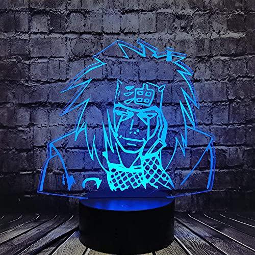 Lámpara de noche 3D Jiraiya LED de dibujos animados para habitación Japón Manga Comic Light Decor Lámpara de mesa Juguete de vacaciones para adolescentes Juguete