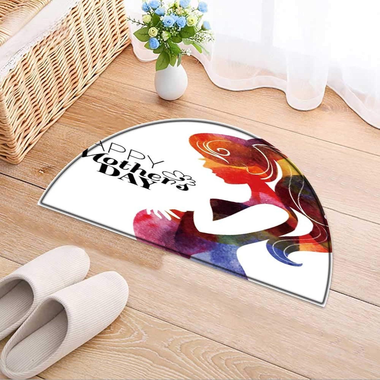 Semicircle Area Rug Carpet Pregnant Woman Vector Door mat Indoors Bathroom Mats Non Slip W59 x H35 INCH