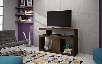 طاولة تلفاز من بي ار في موفيس مع رفوف وخزانة واحدة، بني