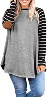 Yskkt Womens Plus Size Raglan Striped Shirts Elbow Patch Long Sleeve Casual Tunic Tops