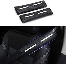 DBL for Landrove Car Seat Belt Shoulder Cover 4D Carbon Fiber Auto Seatbelt Comfort Safety Strap Protect Pads Reflective Stickers for Travel 2Pcs (White)