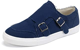 aogula Women Fashion Sneakers Low Top Lightweight Canvas Breathable Slip on Skate Shoes with Buckle Classic Canvas Casual Flat Vintage Loafers Outdoor Walking