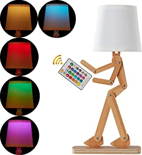 25inch LED Wooden Table Lamp, Cool DIY Humorous Robot Desk Lamp,Variable Humanoid Beside Table Lamp with 8 Modes Remote Control Color Bulb for Bedroom Living Room Dorm