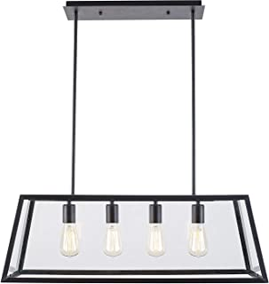 OSCREE 4-Light Kitchen Island Pendant Light Adjustable Hard Rod Transparent Acrylic Panel for Dining Room Lighting Fixtures Modern Industrial Chandelier E26 Base (Bulbs Included)