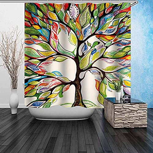 Beddinginn Colorful Trees of Life Shower Curtain Fabric,Heavy Duty,,Waterproof Shower Curtains Modern for Bathroom Decor with 12pcs Hooks(Tree of Life,72x84 Inches)