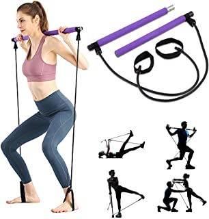 AMODAI Portable Pilates Bar Kit with Resistance Band Yoga Exercise Pilates Bar with Foot Loop Toning Bar Yoga Pilates for Yoga,Stretch,Twisting,Sit-Up Bar Resistance Band