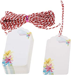 50pcs Paper Tags Label Tags Price Tag Labels Wish Trees Tags Craft Hang Labels with String for Wedding, Birthday, Holiday, Baby Shower, Floral Design - #4