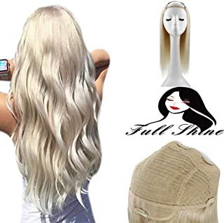 Full Shine 18 Inch Half Wig Hair Pieces For Women Clip in Half Wig Quick Weave Extensions Color #60 Platinum Blonde 150g Wig Hair Piece Extension