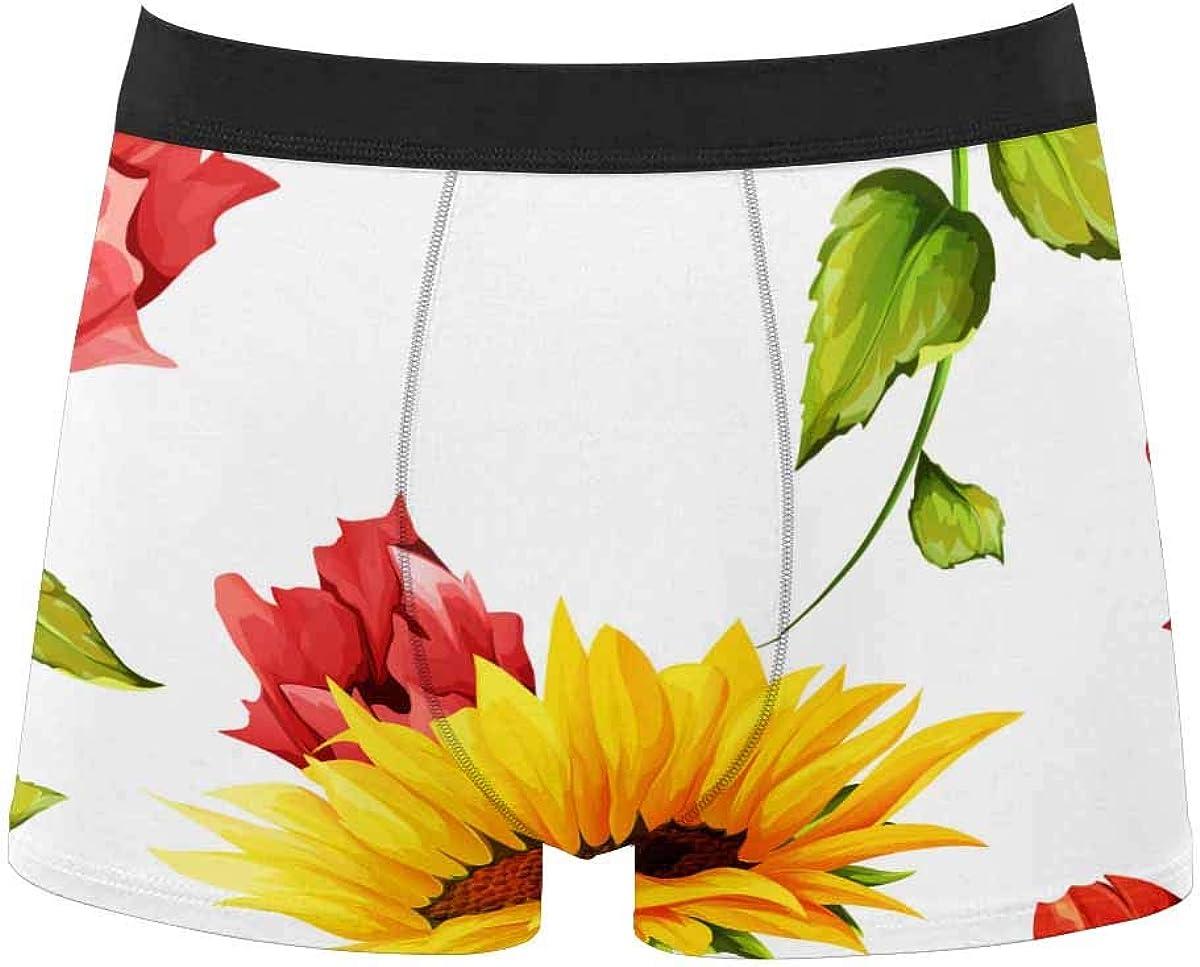 InterestPrint Youth Boy's All Over Print Comfort Boxer Briefs Underwear Sunflowers on White L