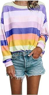 Shusuen Women Long Sleeve Tops Oversized Rainbow Striped Tunics Blouses T Shirt Pullover Sweatshirt