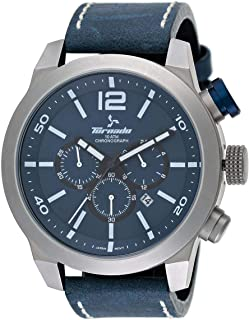 Tornado Men's Navy Blue Dial Leather Band Watch