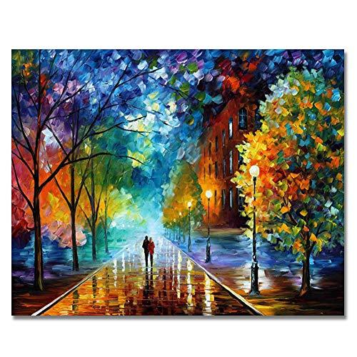 HCDZF Pintura por números, iluminación de paisaje, luces de pueblo bosque, en la noche lluviosa, pinturas artesanales para decoración de pared del hogar, 40 x 50 cm, sin marco.