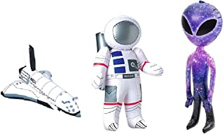 Novelty Treasures Galaxy Space Adventure Set- Astronaut, Shuttle Rocket, and Alien Inflates - Awesome Birthday Party Pack Encourage Imagination Toys