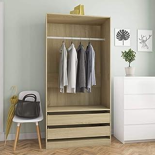 Tidyard Garde-Robe en Aggloméré Solide et Durable Style Naturel Chêne Sonoma 100x50x200 cm