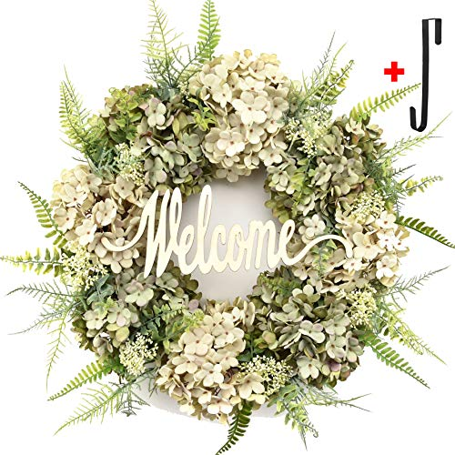 Hydrangea wreaths for front door,Outdoor summer wreaths for front door,Fall spring handmade Hello Wreath for Front Door,Farmhouse Wreath ,Rustic Wreath,Grapevine Wreath,Window Decoration (Welcome)